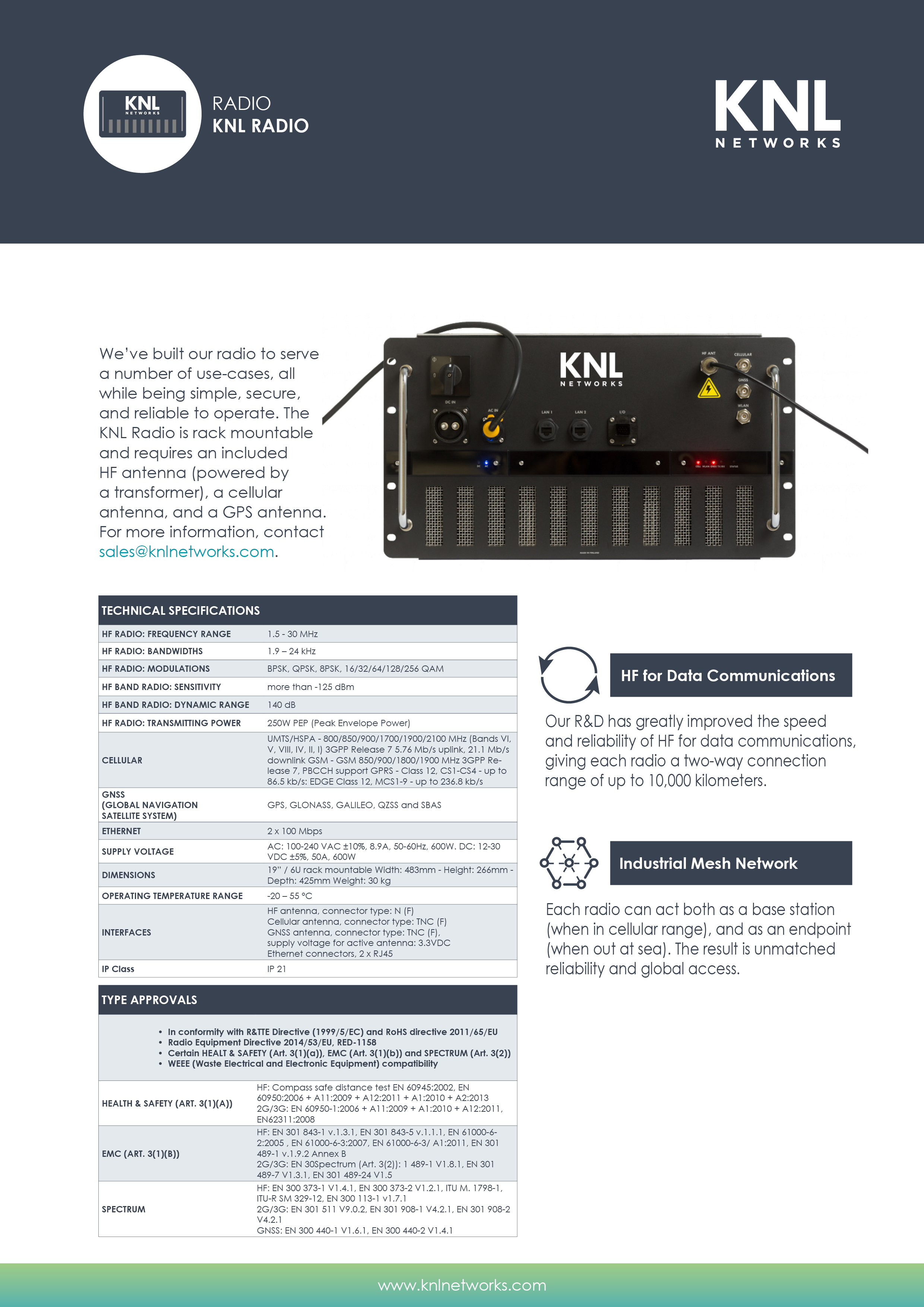 Product Sheets - KNL Networks